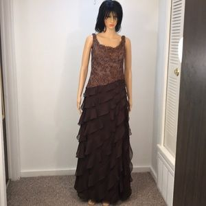 Brown sequins top with ruffles evening gown
